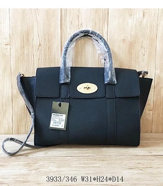 Mulberry Litchi Veins Black Leather Top Handle Bag