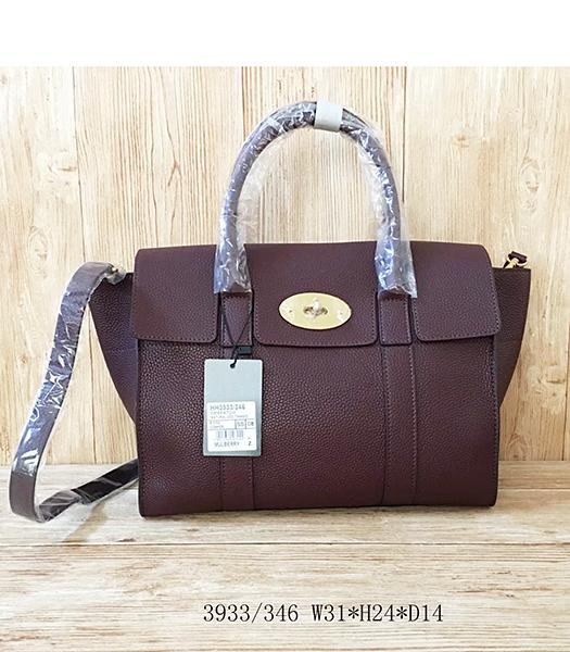 Mulberry Litchi Veins Jujube Red Leather Top Handle Bag