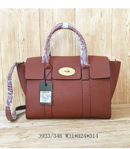 Mulberry Litchi Veins Earth Yellow Leather Top Handle Bag