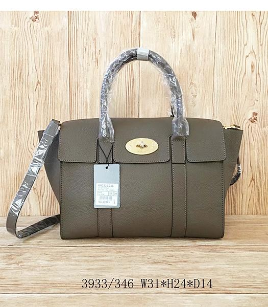 Mulberry Litchi Veins Khaki Leather Top Handle Bag