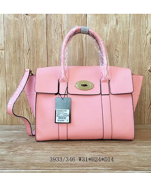 Mulberry Litchi Veins Pink Leather Top Handle Bag