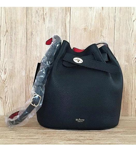 Mulberry Litchi Veins Leather Bucket Bag Black
