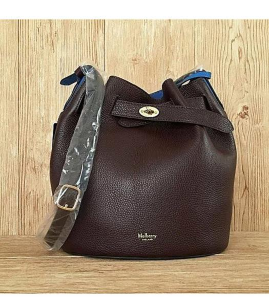 Mulberry Litchi Veins Leather Bucket Bag Jujube Red