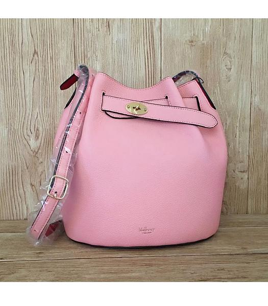 Mulberry Litchi Veins Leather Bucket Bag Pink