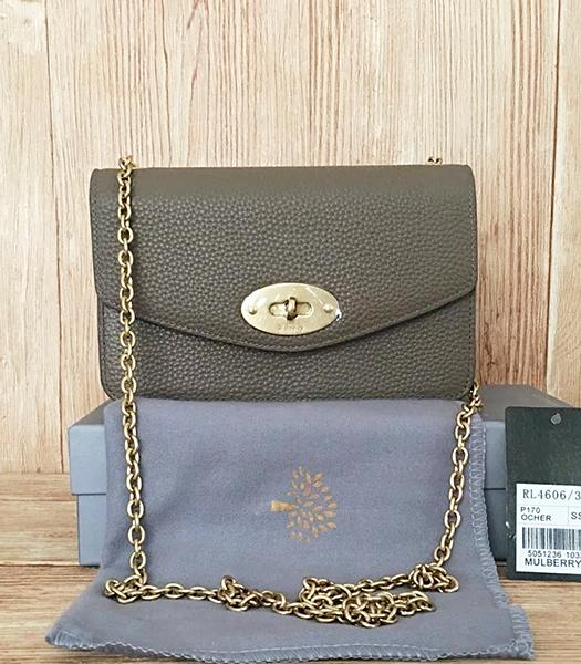 Mulberry Khaki Litchi Veins Leather Golden Chains Bag