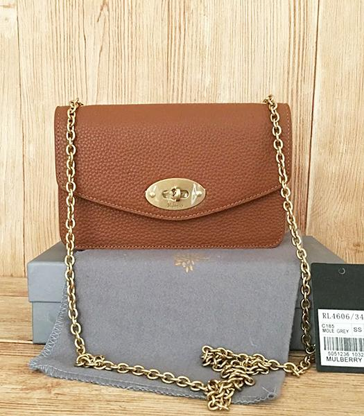 Mulberry Earth Yellow Litchi Veins Leather Golden Chains Bag