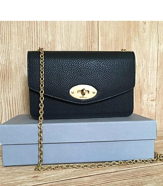 Mulberry Black Litchi Veins Leather Golden Chains Bag