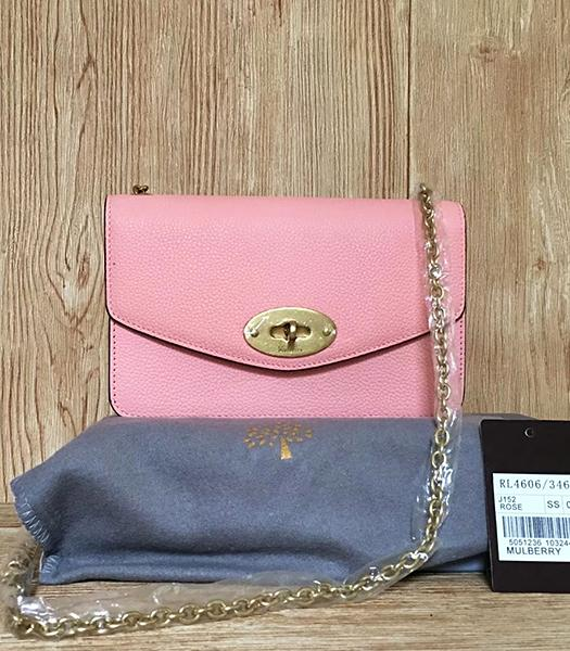 Mulberry Pink Litchi Veins Leather Golden Chains Bag