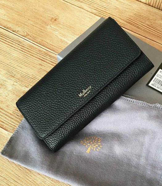 Mulberry Litchi Veins Leather Long Wallet Black