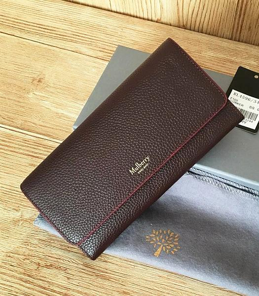 Mulberry Litchi Veins Leather Long Wallet Jujube Red