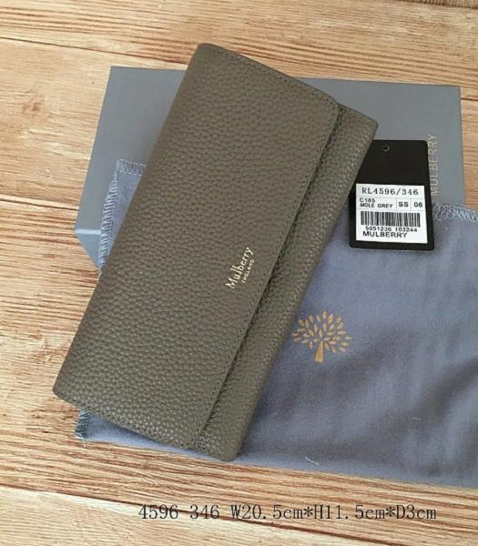 Mulberry Litchi Veins Leather Long Wallet Dark Khaki