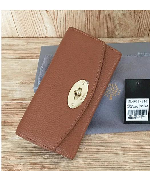 Mulberry Litchi Veins Earth Yellow Leather Long Wallet