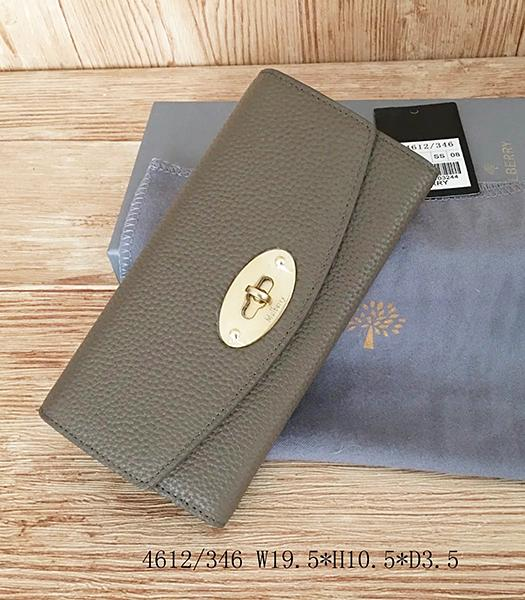 Mulberry Litchi Veins Khaki Leather Long Wallet