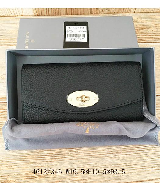 Mulberry Litchi Veins Black Leather Long Wallet