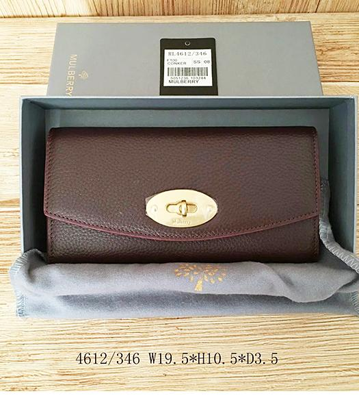 Mulberry Litchi Veins Jujube Red Leather Long Wallet