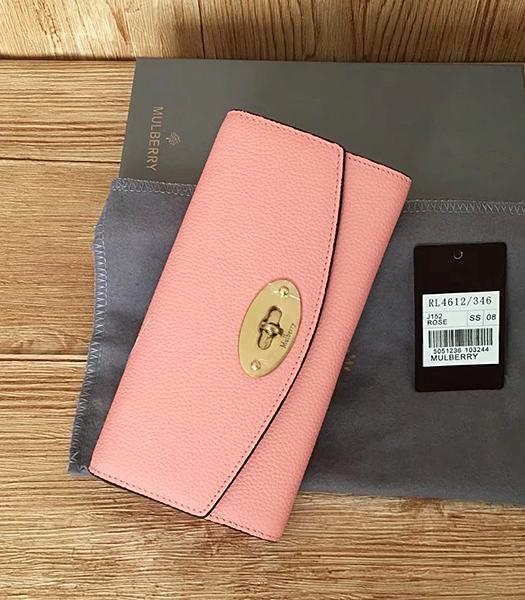 Mulberry Litchi Veins Pink Leather Long Wallet