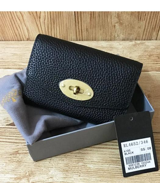 Mulberry Litchi Veins Leather Wallet Black