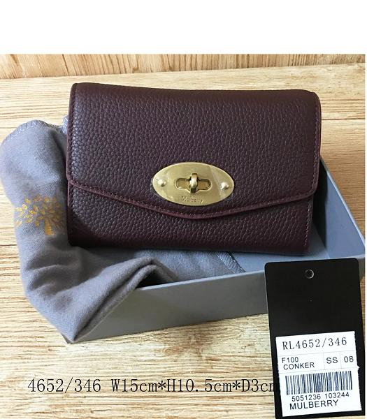 Mulberry Litchi Veins Leather Wallet Jujube Red