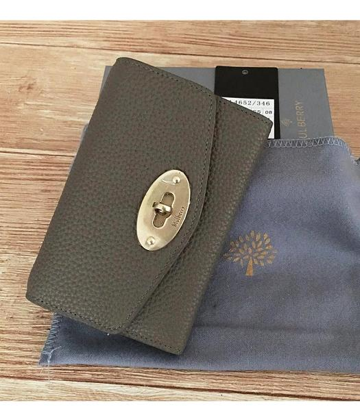Mulberry Litchi Veins Leather Wallet Dark Khaki