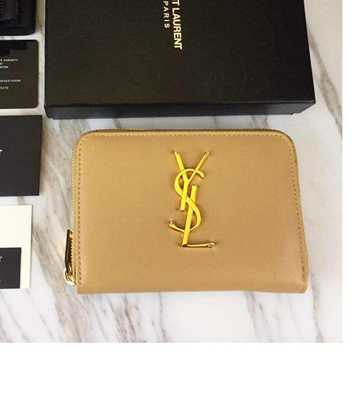 Yves Saint Laurent Apricot Leather Zipper Wallet