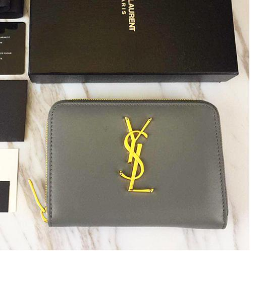 Yves Saint Laurent Grey Leather Zipper Wallet