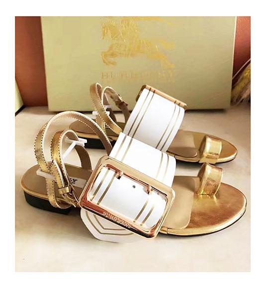 Burberry Mixed Colors Calfskin Casual Sandals White