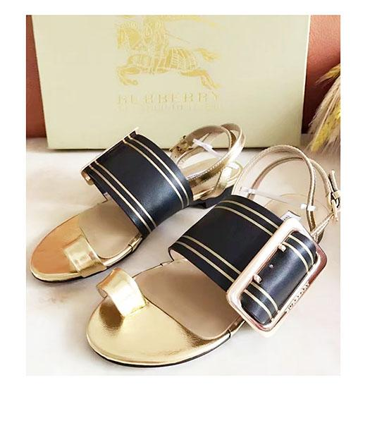 Burberry Mixed Colors Calfskin Casual Sandals Black
