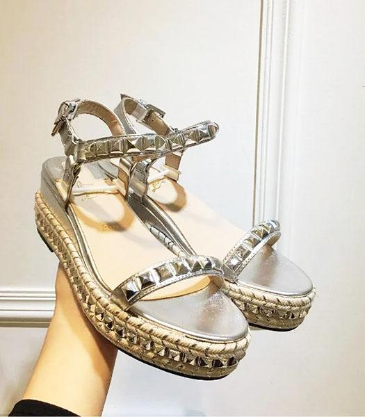Christian Louboutin Silver Leather Rivets Decorative Sandals