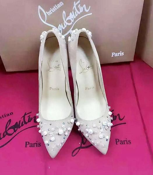 Christian Louboutin Grey Suede Leather Beads High Heels