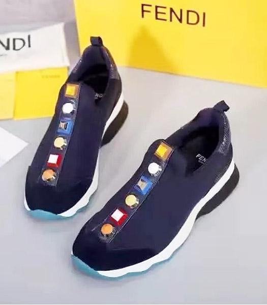 Fendi Calfskin Leather With Cloth Casual Shoes Dark Blue