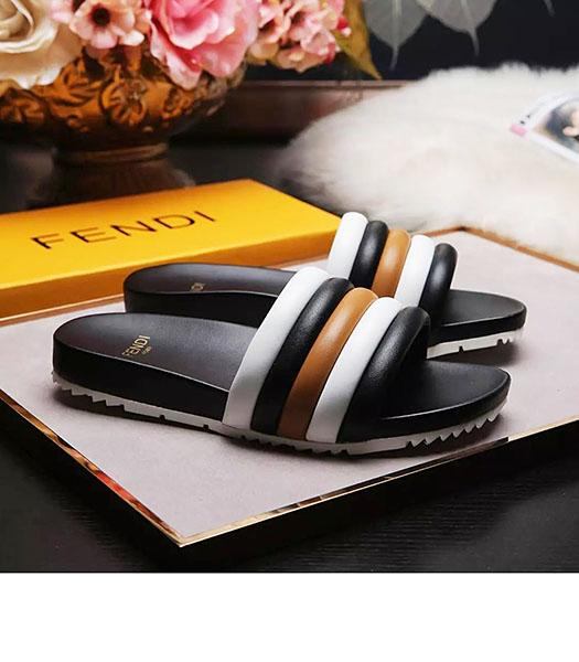 Fendi Mixed Colors Leather Casual Slippers Black
