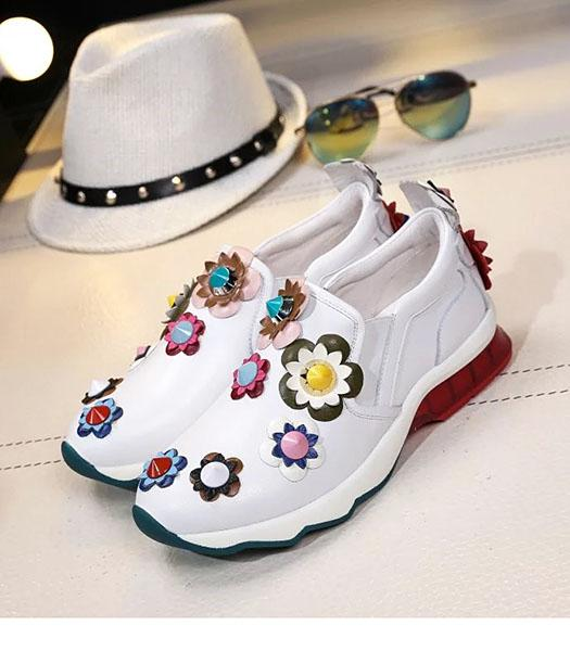 Fendi White New Style Import Deerskin Flower Casual Shoes