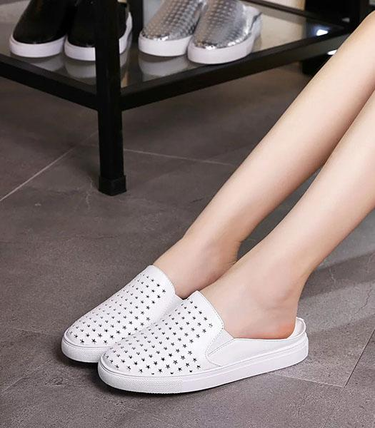 Givenchy White Upper Calfskin Leather Perforate Sandals