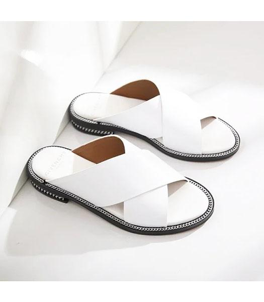 Givenchy White New Style Upper Calfskin Leather Casual Slippers
