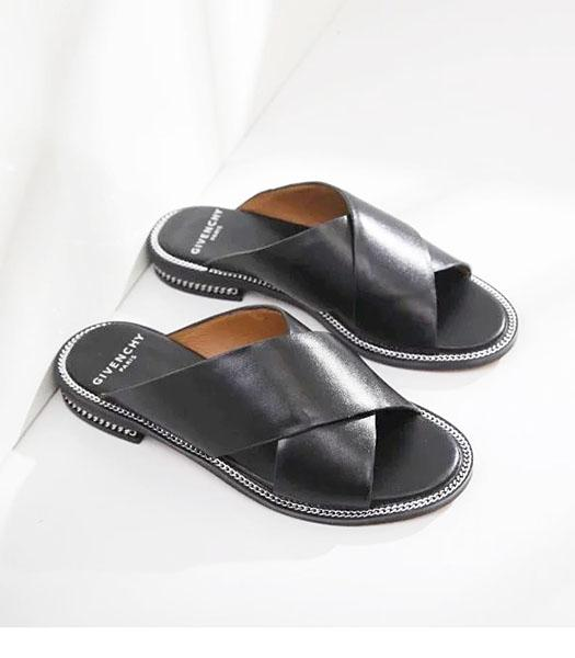 Givenchy Black New Style Upper Calfskin Leather Casual Slippers