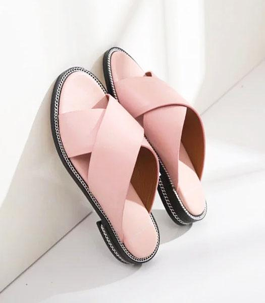 Givenchy Pink New Style Upper Calfskin Leather Casual Slippers