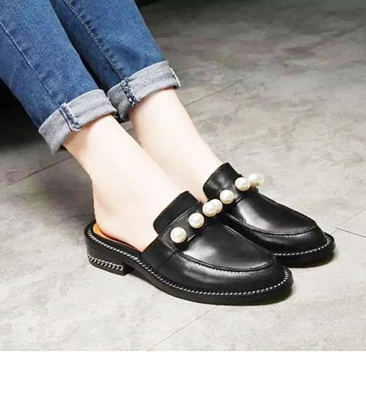 Givenchy Black Calfskin Leather Pearls Casual Sandals
