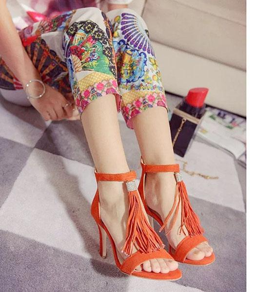 Jimmy Choo Sheepskin Tassel High Heel Sandals Orange