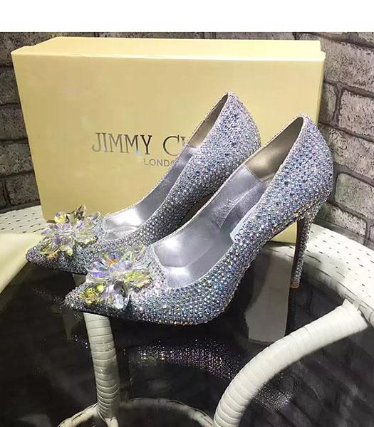 Jimmy Choo 10.5cm Crystal Decorative High Heel Shoes Silver