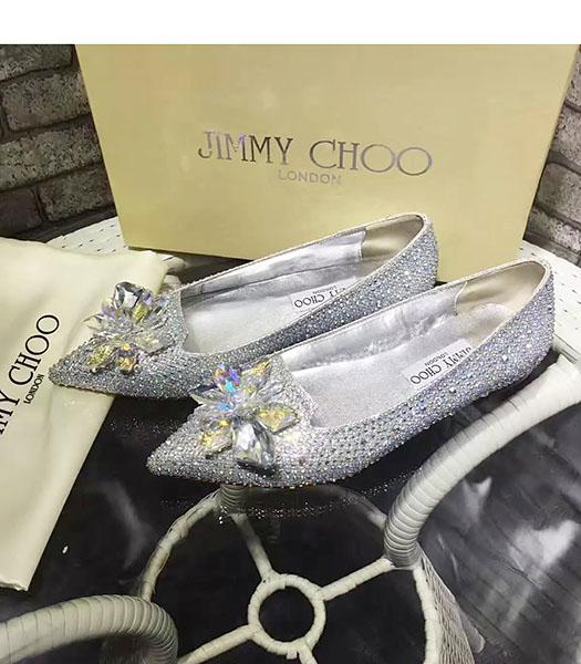 Jimmy Choo Crystal Decorative Casual Flat Shoes Silver