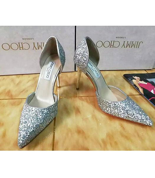 Jimmy Choo Sequins 10cm High Heel Shoes Silver