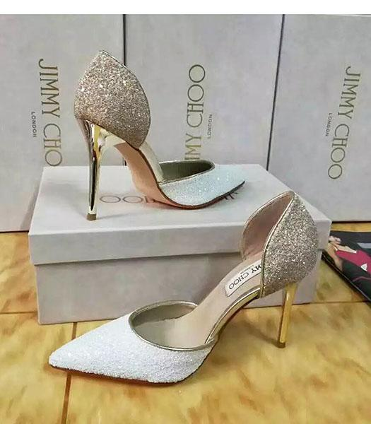Jimmy Choo Sequins 10cm High Heel Shoes White
