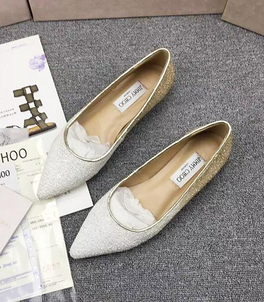 Jimmy Choo Sequins Flat Casual Shoes White