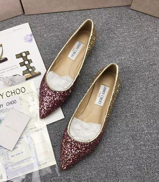 Jimmy Choo Sequins Flat Casual Shoes Jujube Red