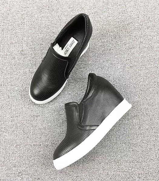 Jimmy Choo Black Hot Style Calfskin Leather Casual Shoes