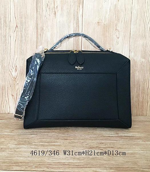 Mulberry Black Litchi Veins Leather Handle Bag