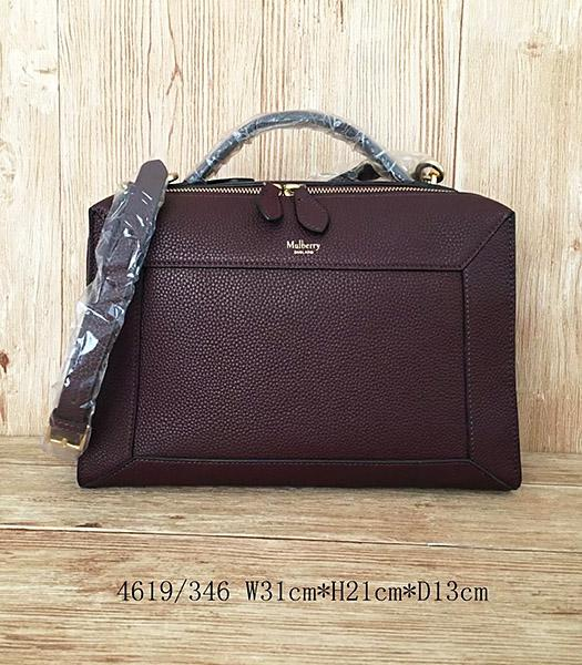 Mulberry Jujube Red Litchi Veins Leather Handle Bag