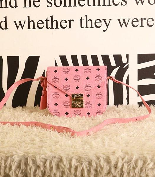 MCM Latest Design Pink Leather Small Shoulder Bag