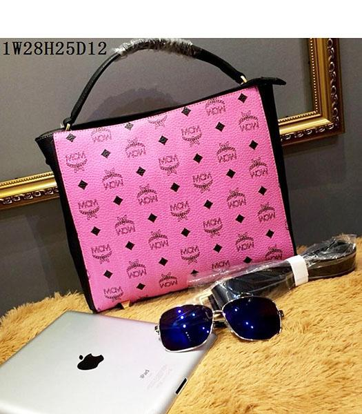 MCM Pink Litchi Veins Leather Small Shoulder Bag