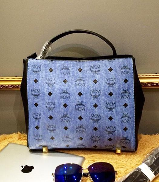 MCM Blue Litchi Veins Leather Small Shoulder Bag